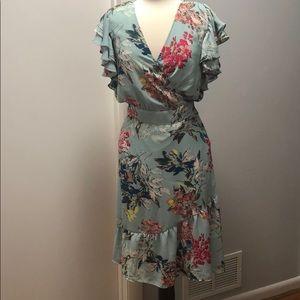 NWT Rachel Roy faux wrap mint floral flirty dress